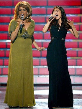 "Jessica Sanchez and Jennifer Holliday's show-stopping duet of ""And I Am Telling You I'm Not Going"" remains one of ""American Idol's"" greatest moments. (Photo by Getty Images' Mark Davis)"