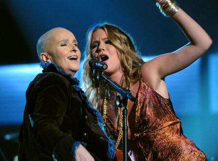 "Melissa Etheridge's (with Joss Stone, right) raw cover of ""Piece of My Heart"" stole the show at the 2005 Grammy Awards. (Photo property of Wireimage.com's Lester Cohen)"