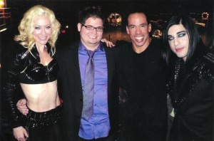 "Andrew posed with fellow Season Seven competitors mind reader Eric Dittleman and aerialists Donovan and Rebecca after a taping of ""AGT."" (Photo courtesy of Andrew De Leon)"