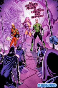"As the Star Sapphires celebrate their new queen, Carol Ferris, Larfleeze lamented that he wanted to be the ""queen."" (Artwork property of DC Comics)"