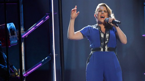 "Sam Bailey stood on ""The Edge of Glory"" and became this year's winner of ""The X Factor UK."" (Photo property of SYCO TV & ITV)"