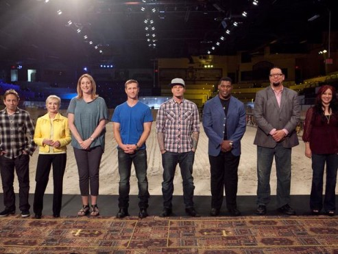 """Florence Henderson, Vanilla Ice, Penn Jillette, Tiffany, Chris Kattan, """"The Bachelor's"""" Jake Pavelka and Hershel Walker make up the cast of the third helping of """"Rachael vs. Guy: Celebrity Cook-Off."""" (Photo property of Food Network)"""