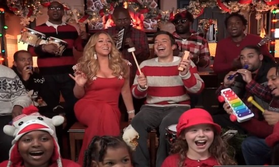 "Mariah Carey dropped by ""Late Night"" for some holiday merriment! (Photo property of NBC's Lloyd Bishop)"
