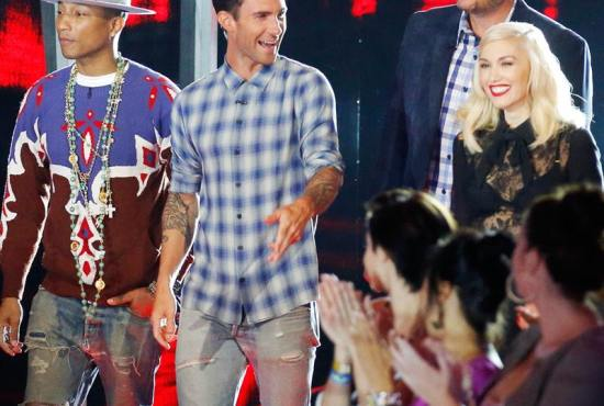 """Pharrell, Adam, Blake and Gwen take the stage as """"The Voice: Season Seven"""" Battle Rounds continue (Photo property of NBC)"""