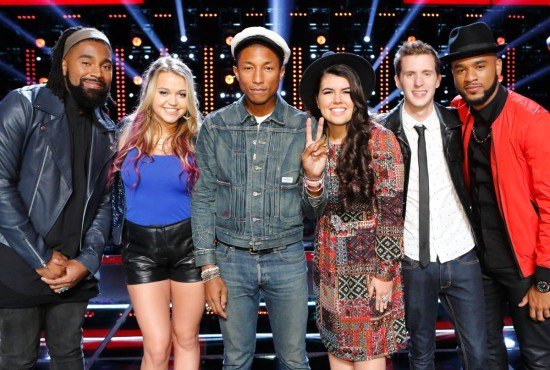 """Last season's winning coach """"Got Lucky"""" with these artists who impressed me tonight on """"The Voice."""" (Photo property of NBC & United Artists Media Group)"""