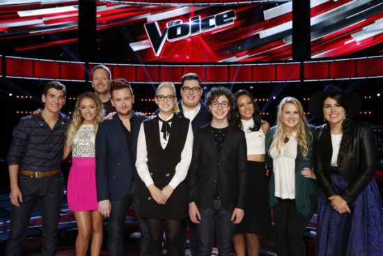 """The Voice: Season Nine"" Top 10 pose together during a show taping. (Photo property of NBC's Trae Patton)"