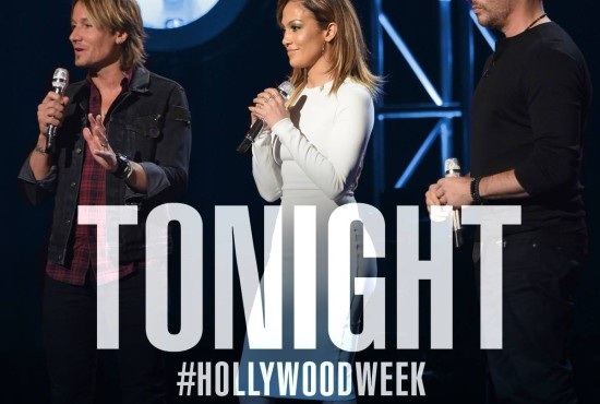 Judges Keith Urban, Jennifer Lopez and Harry Connick, Jr. talk to the remaining singers before they sing their solos during Hollywood Week. (Photo & graphic property of FOX, FremantleMedia North America & 19 Entertainment)