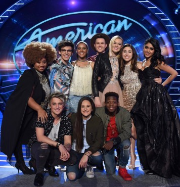"""The """"American Idol XV's"""" final Top 10 pose together during a taping of the FOX singing competition. (Photo property of FOX & 19 Entertainment)"""