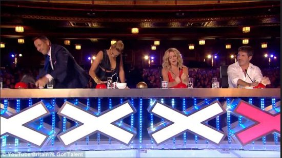 """This is the reaction that I get every time Nick Hagelin performs on """"The Voice."""" BTW, I love the """"Britain's Got Talent"""" judges: David Walliams, Alesha Dixon, Amanda Holden & Simon Cowell. (Photo property of iTV)"""