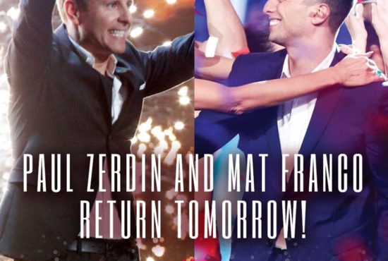 """Two fan-favorite winners Paul Zerdin and Mat Franco returned to """"America's Got Talent"""" just in time for Season 11's first results show. (Photos and graphics property of NBC)"""