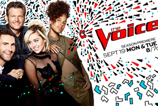 "Adam and Blake welcomed Miley Cyrus and Alicia Keys to ""The Voice"" family. (Poster and graphic property of NBC & MGM TV)"