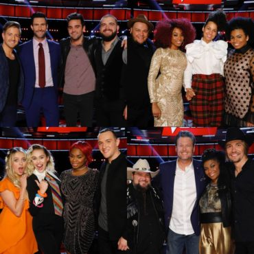 """""""The Voice: Season 11"""" coaches pose together with their artists after the Top 12 performances. (Photos property of NBC & MGM TV)"""