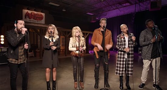 """Pentatonix and Dolly Parton visited """"The Voice"""" to celebrate the holiday season. (Photo property of RCA Records)"""